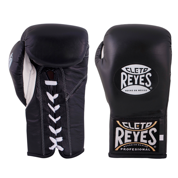 Cleto Reyes Safetec Professional Lace Up Training Boxing Gloves Black