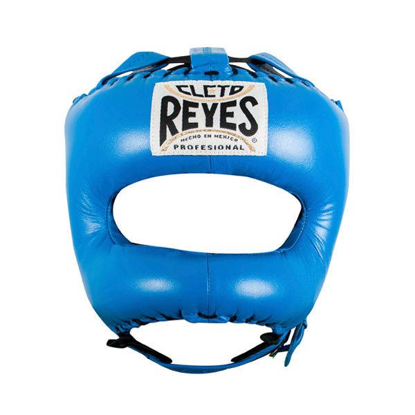 Cleto Reyes Traditional Leather Boxing Headgear with Nylon Face Bar Blue