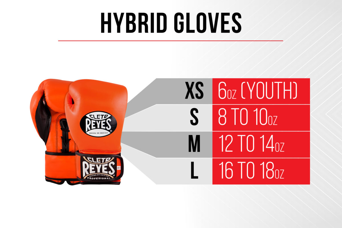 Size Chart Hybrid Gloves - Extra Small 6 ounces (youth) - Small 8 to 10 ounces - Medium 12 to 14 ounces - Large 16 to 18 ounces