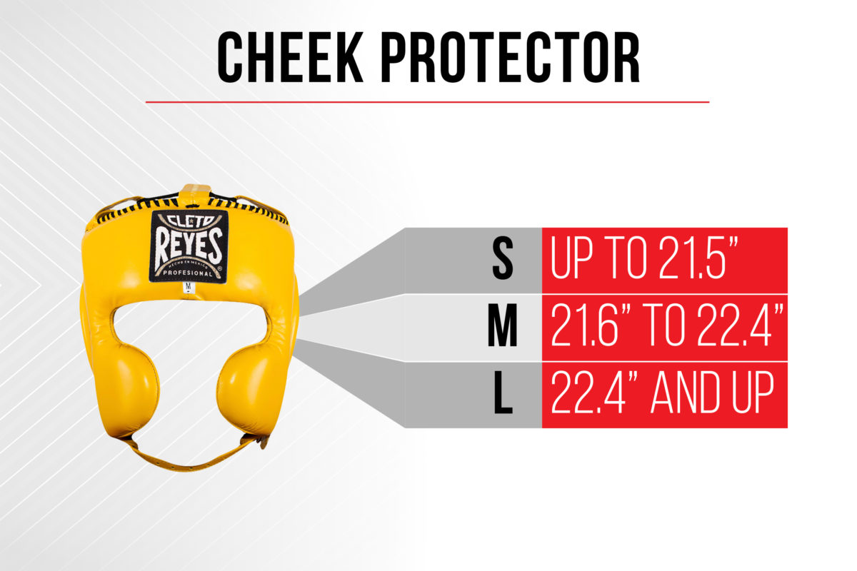 Size Chart Cheek Protector - Small up to 21.5 inches - Medium 21.6 inches to 22.4 inches - Large 22.4 inches and up