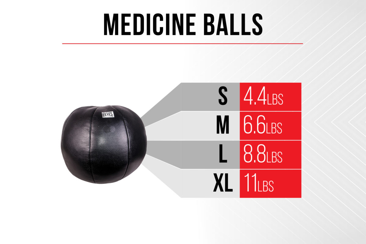 Size Chart Medicine Balls - Small 4.4 pounds - Medium 6.6 pounds - Large 8.8 pounds - Extra Large 11 pounds
