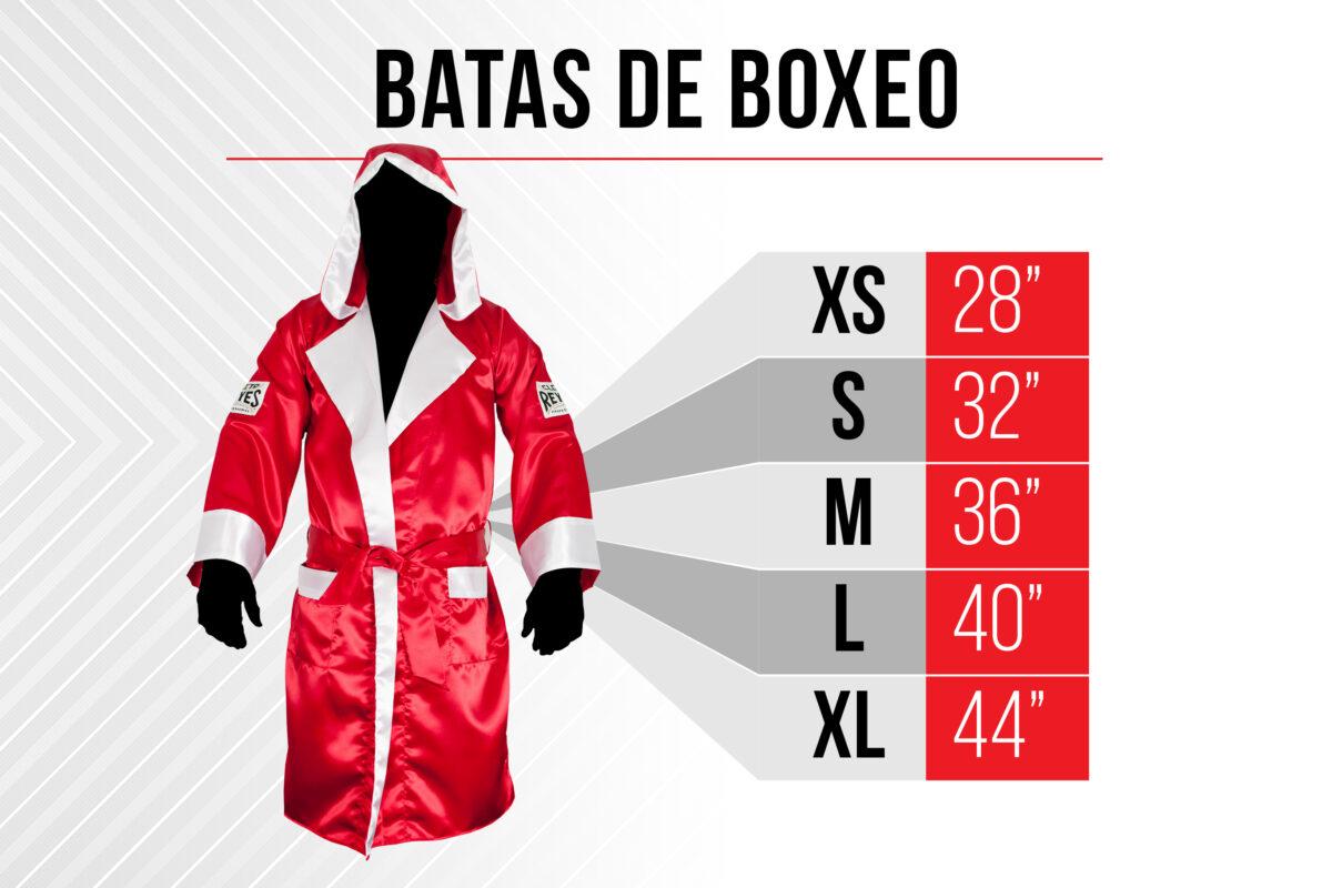 Tabla de medidas Batas de Boxeo - Extra Chico 28 pulgadas - Chico 32 pulgadas - Mediano 36 pulgadas - Largo 40 pulgadas - Extra Largo 44 pulgadas